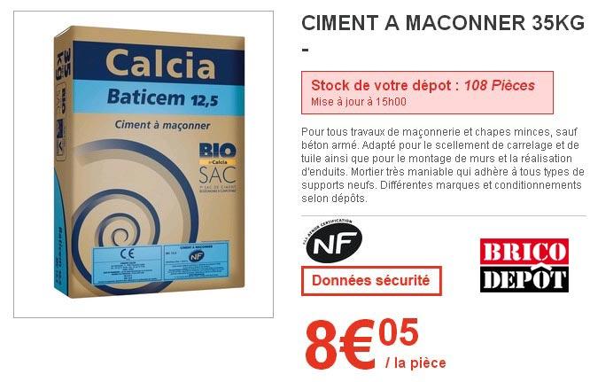 Sac De Ciment Brico Depot