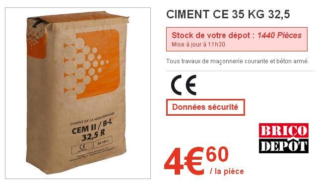 La Qualite Du Ciment 1er Prix Brico Depot