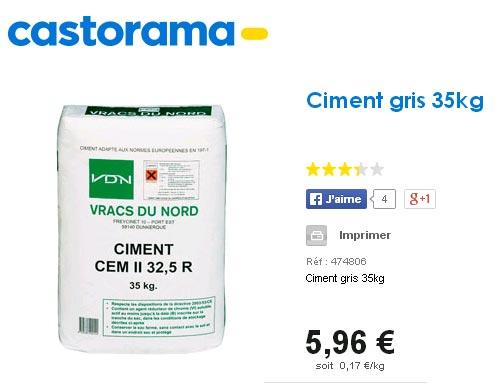 qualité ciment castorama