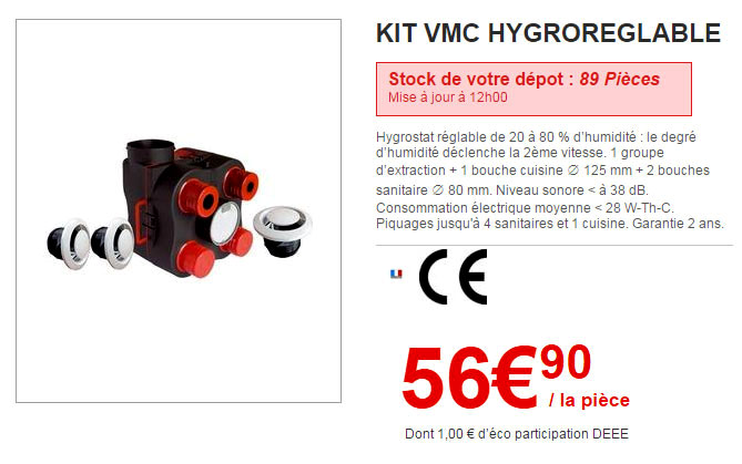 Les vmc brico d p t for Vmc hygroreglable brico depot