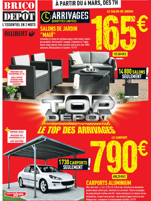Les arrivages brico d p t du 6 mars 2015 for Salon jardin brico depot