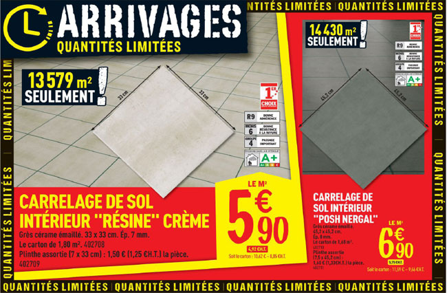 Les arrivages brico d p t du 21 ao t for Brico depot carrelage interieur