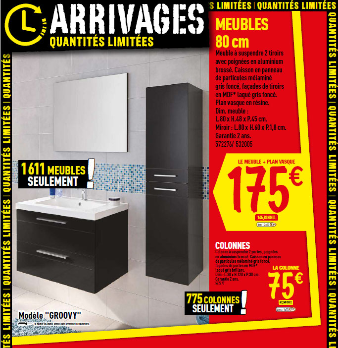 Le catalogue des arrivages brico d p t du 19 f vrier for Meuble salle de bain double vasque brico depot