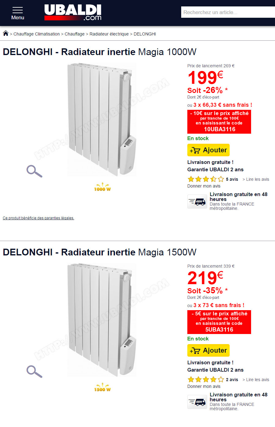 un radiateur delonghi dans les arrivages brico d p t. Black Bedroom Furniture Sets. Home Design Ideas