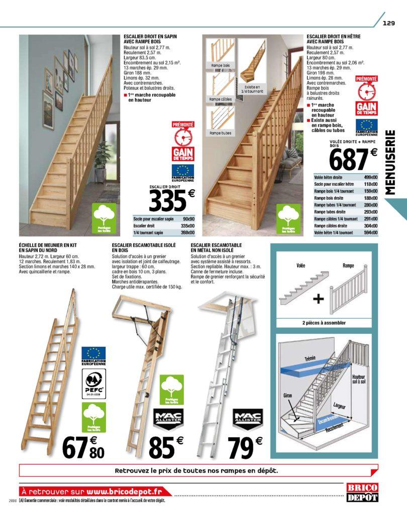 escaliers droits en bois