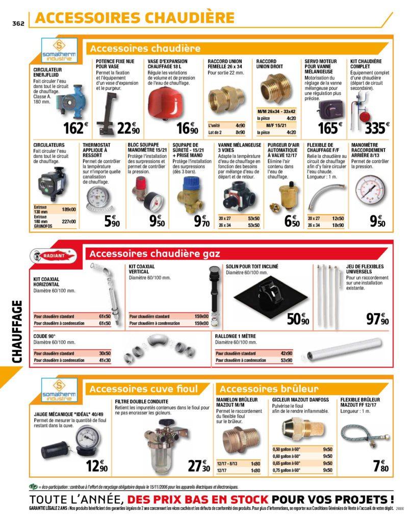 circulateur, thermostats et bruleurs